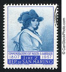 Anita Garibaldi - SAN MARINO - CIRCA 1949: stamp printed by ...