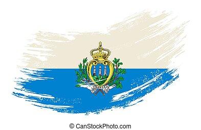 San Marino flag grunge brush background. Vector illustration...