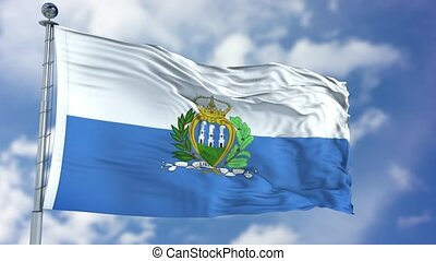 San Marino Flag in a Blue Sky