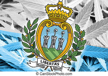 San Marino Flag on cannabis background. Drug policy....