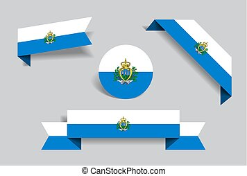San Marino flag stickers and labels. Vector illustration. - ...