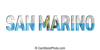 San Marino flag text font. National symbol background