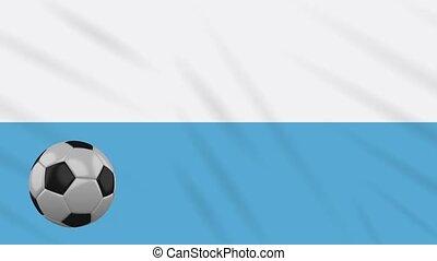 San Marino flag waving and football rotates, loop - San...
