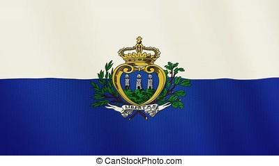 San Marino flag waving animation. Full Screen. Symbol of the country.
