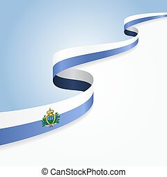 San Marino flag wavy abstract background. Vector ...