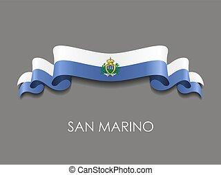 San Marino flag wavy ribbon background. Vector illustration...