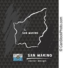 San Marino map, vector drawing on blackboard - San Marino ...