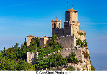 San Marino. Old stone towers on top of the mountain.