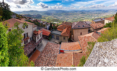 San Marino. Panoramic aerial view of the valley in the morning.