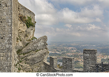 San Marino rural landscape, fortress view from above