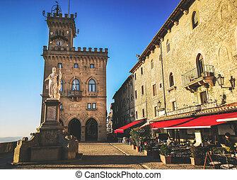 San Marino square of Palazzo Pubblico - Repubblica di San Marino Italy .