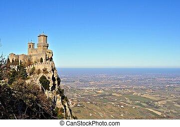 San Marino view on castle