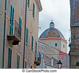 san michele church in Alghero seen through old backstreets