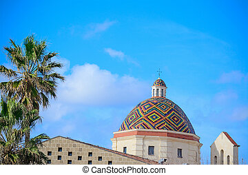san michele dome under a blue sky in Alghero
