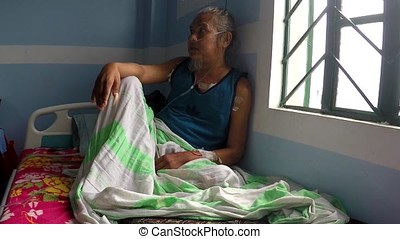 Heart and lung disease inflicted man patient in public...