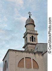 San Pantalon Church bell tower at sunset in Venice, Italy.