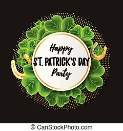 San Patricks Day card with 3d Clover leaves and Gold...