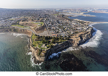 San Pedro Coastline Aerial in Los Angeles California