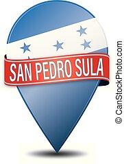 SAN PEDRO SULA honduras glossy web pin