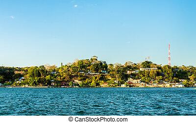 san, peten, 湖, guatemala, miguel, 村, 光景, 横切って, itza