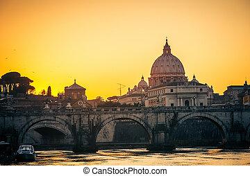 san pietro, cattedrale, a, crepuscolo, roma