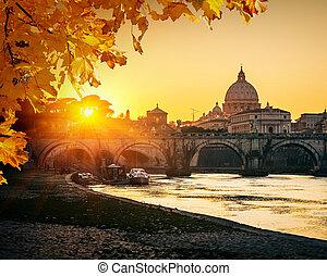 san pietro, cattedrale, a, tramonto, roma