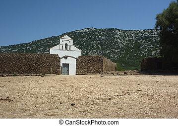 san, pietro, chiesa, su, golgo, altopiano, con, muro pietra
