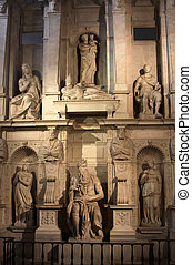 Michelangelo's Moses in the church of San Pietro in Vincoli in Rome, Italy. The sculpture was completed in 1515 AD.