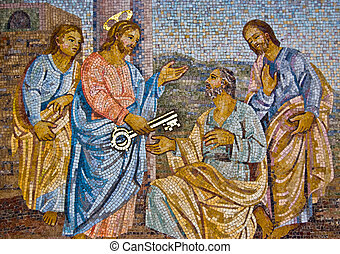 mosaic of Saint Peter receiving the key from Jesus