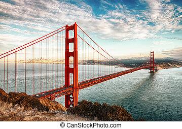 san, portail, doré, francisco, pont
