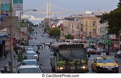 san, puente, bahía, vistos, oakland, chinatown, francisco