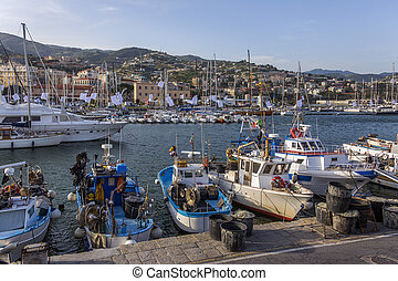 San Remo - Italy - The harbor in the Mediterranean resort of...