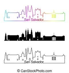 San Salvador skyline linear style with rainbow