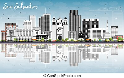 San Salvador Skyline with Gray Buildings, Blue Sky and Reflections.