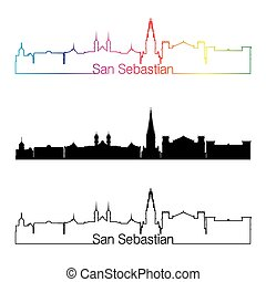 San Sebastian skyline linear style with rainbow