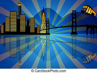 san, skyline, francisco, reflexion, nacht
