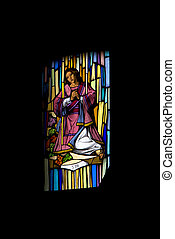 san tito - the colored window in the church of chiavari...