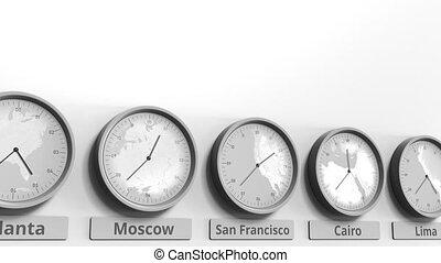 san, usa, horloge, projection, dans, francisco, animation, temps, conceptuel, mondiale, rond, zones., 3d