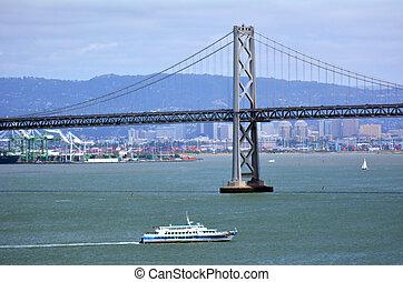 san, vela, debajo, bahía, puente de oakland, transbordador, ...