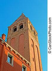 San Vidal bell tower seen from below