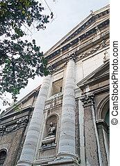 San Vidal church - San Vidal facade on a cloudy day