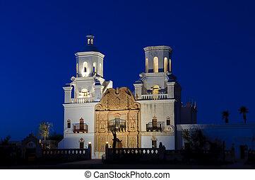 San Xavier Mission at Dusk
