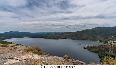 Sanabria glacier lake wide angle top view time lapse with ...