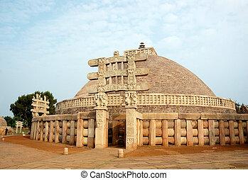 sanchi, ancien, inde, grand, stupa