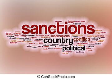 sanciones, palabra, nube, con, resumen, plano de fondo