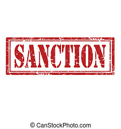 Grunge rubber stamp with text Sanction, vector illustration