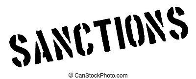 Sanctions black rubber stamp on white