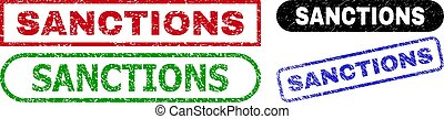 SANCTIONS grunge seal stamps. Flat vector grunge seal stamps with SANCTIONS slogan inside different rectangle and rounded forms, in blue, red, green, black color variants.