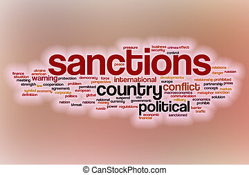 Sanctions word cloud with abstract background