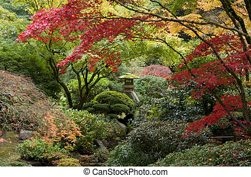 sanctuaire, dans, jardin japonais